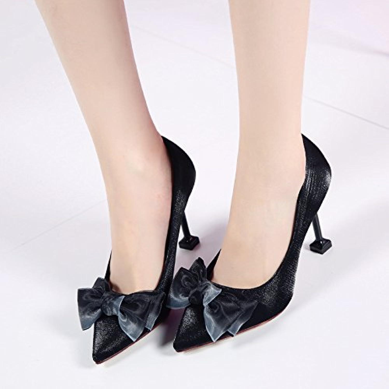 HGTYU-Mesdames Silk 9Cm Des Chaussures À Talons Hauts Doux Doux Hauts Bowknot Avec Bien Des Chaussures Noires Des Chaussures...B078SK3L8ZParent 845557