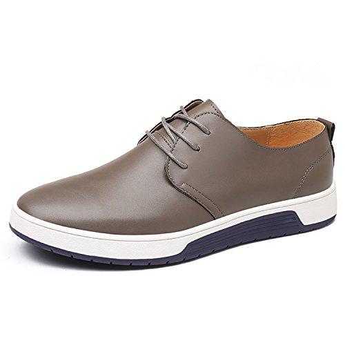 Casual Leder Herren Schuhe Business Halbschuhe Zum Schnürer Anzugschuhe Oxford Derbys Lederschuhe Wasserdicht Flache Schnürhalbschuhe Männer für Hochzeit Party Grau Übergrößenn 46 (Derby Oxford)