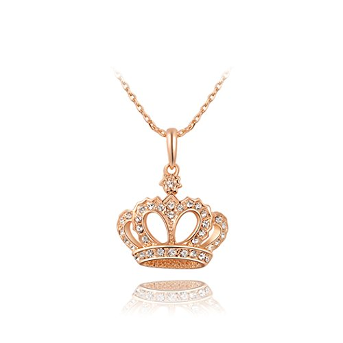 Yc Noble, placcati in oro rosa 18 k, con Zirconia cubica, collana con ciondolo a forma di corona imperiale