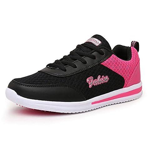 Femme Lacets Mesh Respirante Baskets Course Gym Fitness Course Sport Chaussures 3311 Noir Rose 35 EU