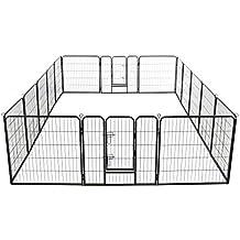 Festnight Corral para Perros 16 Paneles de Acero con 2 Puertas Batientes con Pestillos de Seguridad
