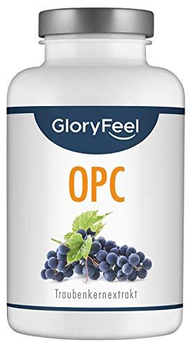 GloryFeel® OPC Traubenkernextrakt 360 Kapseln - 1.000mg Reines OPC aus Original französische Weintrauben pro Tagesdosis - Laborgeprüft, Vegan und Hergestellt in Deutschland