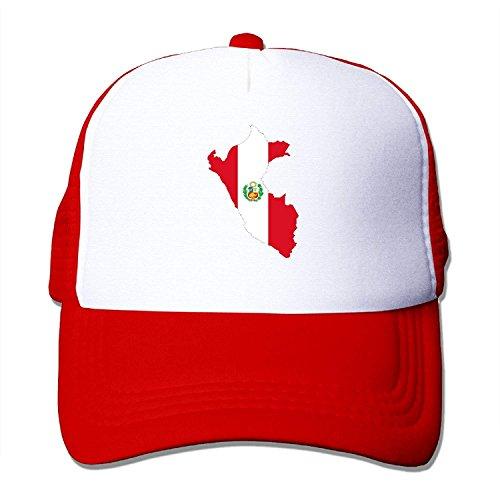 Preisvergleich Produktbild Peru Flag Map Classic Baseball Hats Adjustable Plain Red