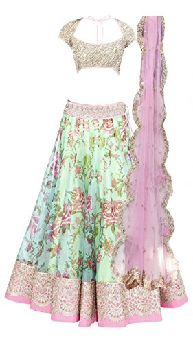 Clickedia Girl's Net Semi-Stitched Lehenga Choli(Kid - Fogg White Pink Lehenga_White Pink_Free)