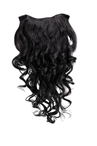 Wig me up - clip nelle estensioni dei capelli, set 7 pezzi, 3/4 della parrucca nera, riccia, lunghezza: 50 cm. h9503-1b, extensions