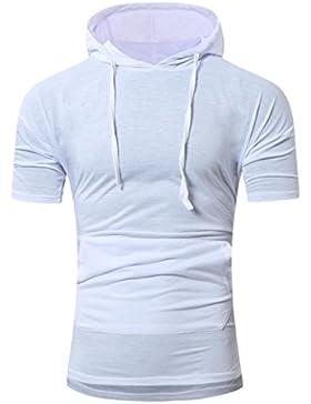 Camisas Hombre, Camisetas casuales Sudadera con capucha de moda del verano de hombres Camiseta de manga corta...