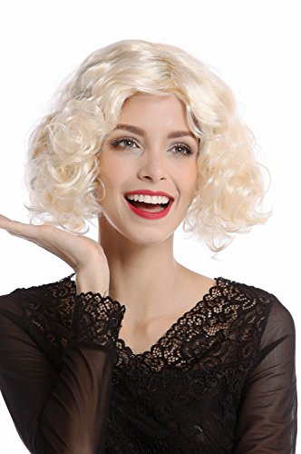WIG ME UP - 90661-ZA88 Perücke Damen Karneval Halloween 20er Jahre Hollywood Diva kurz lockig glatter Mittelscheitel blond hellblond (Events Halloween Hollywood Für)