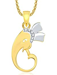 Ganpati God Pendant With Chain Lockets For Men And Women Gold Plated In American Diamond Cz GP327