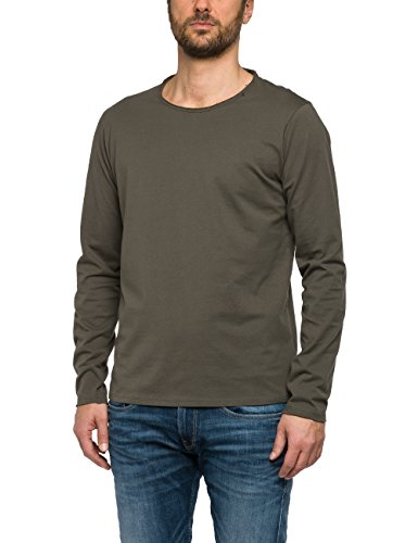 Replay Herren Langarmshirt M3322 .000.2660, Grün (Stone Green 33), Large (Long Classic Tee Logo Sleeve)