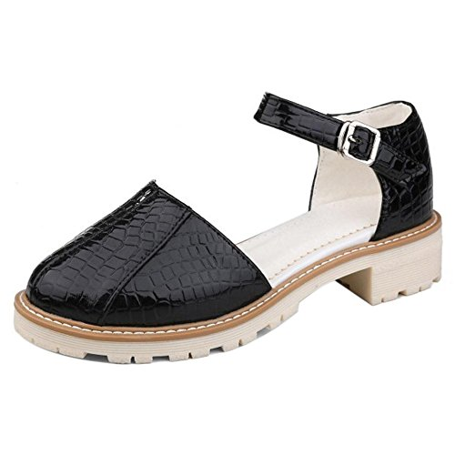 TAOFFEN Damen Gemutlich Floral Print Schuhe Geschlossene Sommer Mid Heel Sandalen mit Schnalle 57 Schwarz