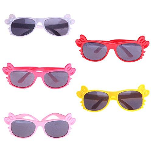 hör Set - 5 Paar Rund Rahmen Puppenbrille / Sonnenbrille - für 18 Zoll Puppe Kleidung Zubehör (Baby Doll Kostüme Für Mädchen)