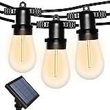 Bomcosy Bomcosy LED Solar Lichterkette Außen,S14 Solar Lichterkette Glühbirne LED Retro,26.4ft/8M IP65 Wasserdicht,12 0.6W LED Birnen E27 Warmweiß 2700K Beleuchtung für Innen und Außen Deko Garten Hochzeit