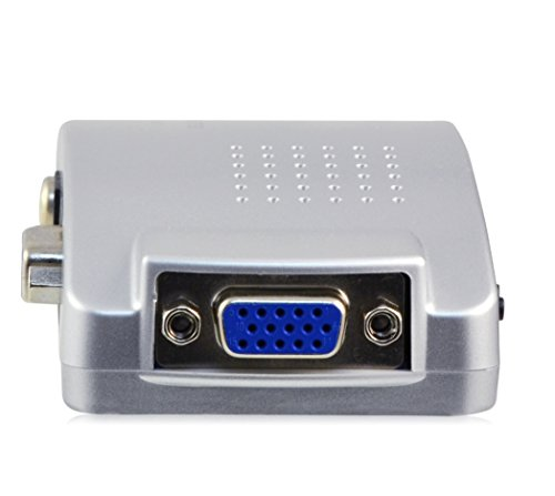 LEICKE KN39753, VGA zu TV Konverter, VGA zu S-Video, Composite oder Scart (Adapter), VGA Loop-Out, inklusive Kabel, silber