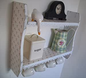 woodiquechic 54cm x 45cm Shabby Chic White Small Roses Shelves with Lace Trim & Cup Hooks, Spice Rack, kitchen Shelves, Kitchen Furniture