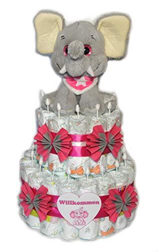 Tarta de pañales, elefante con pañuelo y ojos brillantes, color rosa