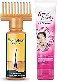 Indulekha Bhringa Hair Oil, 100ml & Fair & Lovely Fairness Face Wash, 100g