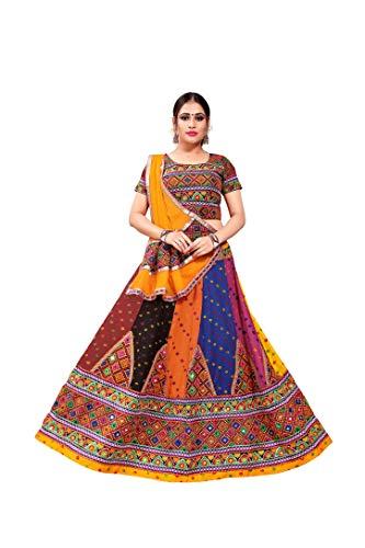 SOURBH Navratri Kutch Embroidered Readymade Semi Lyon Lehenga Choli (N214_Multicolor,Free Size)