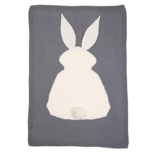 Covermason Baby Boy Girl Rabbit Knitting Blanket For Bedding Quilt Play Animal Throw Crib Wrap Blanket (Gray)