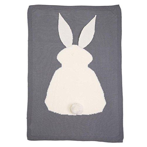 Covermason Baby Boy Girl Rabbit Knitting Blanket For Bedding Quilt Play Animal Throw Crib Wrap Blanket (Gray)