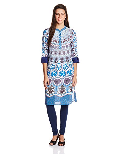 Rain and Rainbow Women's A Line Kurta (3801-SS/107-01_Blue_X-Large)