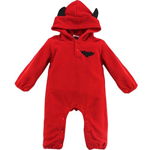 CHICTRY Baby Overall Mit Kapuze Winter Strampler Schneeanzüge Halloween Kürbis / Fledermaus Jumpsuit Mädchen Jungen Kleidung Kostüm Gr. 68 74 80 86 Rot 62-68 (Herstellergröße: 70)