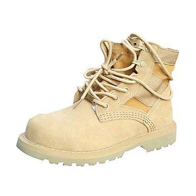 RTRY Chaussures pour femmes Bottes Mode Confort Automne PU talon Bottes bout rond bottes Mid-Calf Pour Lace-up Noir Jaune Jaune occasionnels US5.5 / EU36 / UK3.5 / CN35 RatqTW