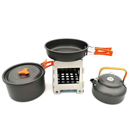 Camping Kochgeschirr Kit, Leichte Outdoor zusammenklappbare Camping Kochgeschirr Chaos Kit Pan Pot Wasserkocher Herd Aluminium Kochausrüstung Backpacking Cookset mit Mesh-Tasche für 2-3 Personen für C
