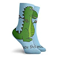 Men Women Dress Socks T-Rex Dinosaur With Grabbers - I Love You This Much! Tube Knee Long Hose For Sport