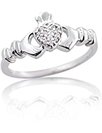 Silver Dew 925 Pure Silver White Gold Plated CZ Diamond Claddagh Ring For Women's & Ladies