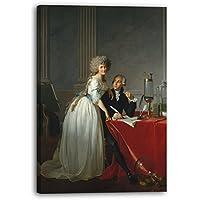 Jacques Louis David - Antoine Laurent Lavoisier (1743-1794) y su esposa (Marie Anne Pierrette Paulze, 1758-1836) (1788), 40 x 60 cm (varios tamaños disponibles), Impresión de la lona enmarcada en el marco de madera genuino y listo para colgar, impresión de alta calidad hecha a mano.