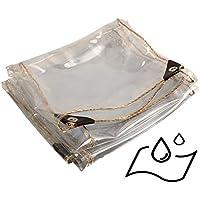 WZNING Tarpaulina, Cortina de Viento y Lluvia Transparente, Cubierta de la Ventana, Tapa de PVC Impermeable al Aire Libre, con Perforaciones Durable y Protector (Color : Clear, Size : 3X3M)