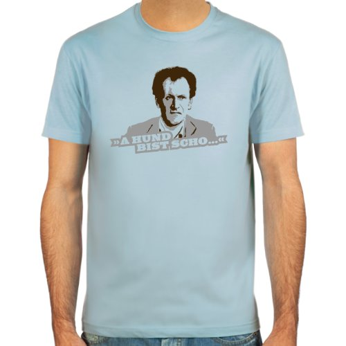 Pixda T-Shirt Manni Kopfeck ::: A Hund bist Scho ::: Farbauswahl: SkyBlue, Sand oder weiß ::: Größen: S-XXL