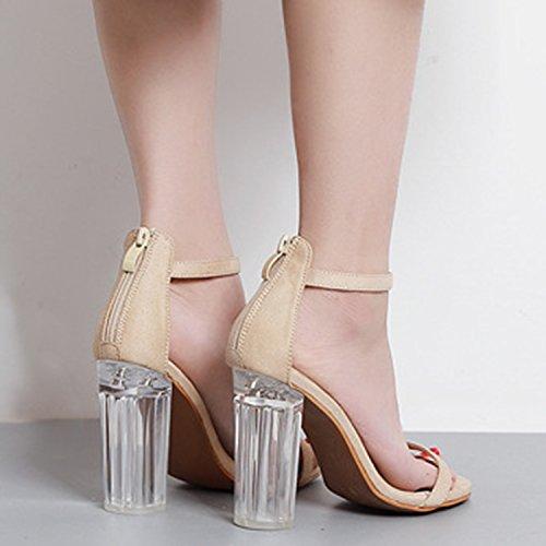 Oasap Women's Peep Toe High Block Heels Ankle Strap Sandals Black