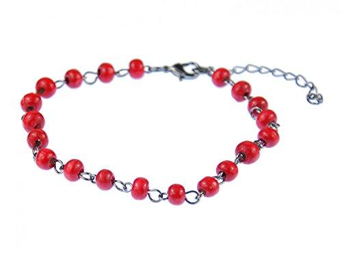 Miniblings Rote Perlen Fußkettchen Fußkette Ethno Folklore Kette Holzperlen rot