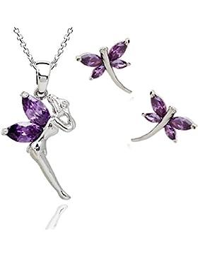 Ohrringe mit Swarovski-Kristallen, mit 18 Karat vergoldet und Tinkerbell-Anhänger - In Violett