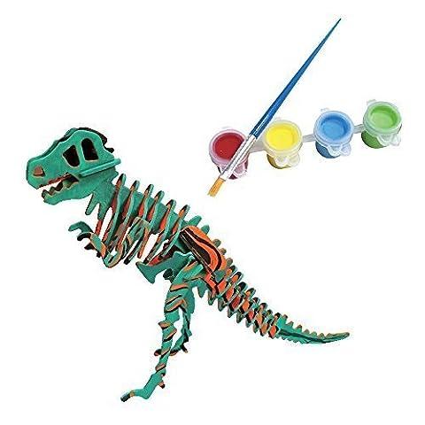 Bfun Woodcraft 3D Puzzle Assemble and Paint DIY Toy Kit, T-Rex