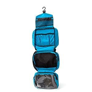 Torido | Kultur-Tasche zum Aufhängen | wasserdichte Waschtasche für Damen und Herren | praktischer, faltbarer Kultur-Beutel mit Haken fürs Reisen | verschiedene Fächerarten | Blau |