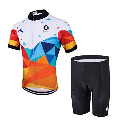 GWELL Herren Radtrikot Set Fahrrad Trikot Kurzarm + Radhose mit Sitzpolster Radsport-Anzüge Orange-1 M