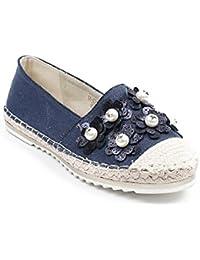 Ideal Shoes - Espadrilles en toile décorées de fleurs et perles Gemma