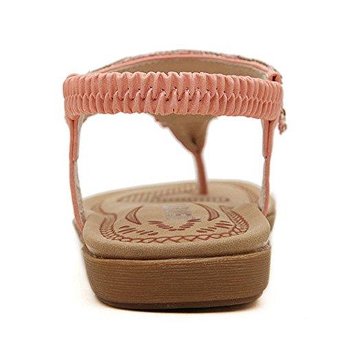 Ouneed® Damen Sandalen , Damen Sommer Boehmen glitzer Bling Diamond Rhinestone Art- und Weiseflache große Größen beiläufige Sandelholz Strand Schuhe Rosa