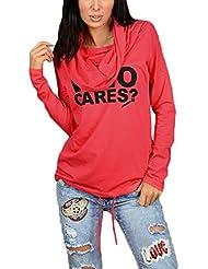 ZANZEA Mujer Camiseta Manga Larga Con Capucha Sudaderas Camisa Blusa T-shirt Blouses Pullover