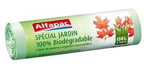 Alfapac - AFBIO1306 - Sac Poubelle - 6 Sacs - Jardin - 130 L - 100 % Biodégradable - Lot de 2