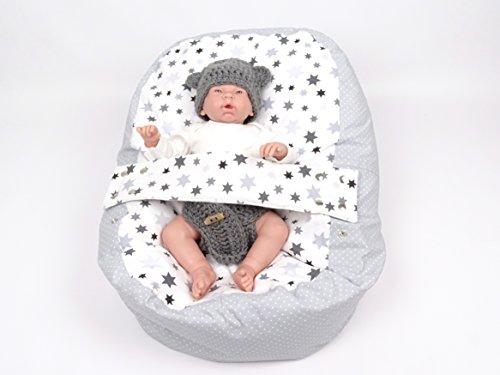 Preisvergleich Produktbild Baby Liegekissen, Lagerungskissen, Alternative zur Babywippe & Babyliege, später als Kindersitzsack einsetzbar, Motiv Sterne oder Blumen, versch. Farben (Stars)