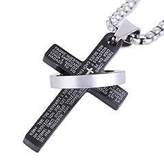 Idea Regalo - DonDon Collana Uomo in Acciaio Inox con Ciondolo a Forma di Croce in Acciaio Inox Nero in Sacchetto di Velluto