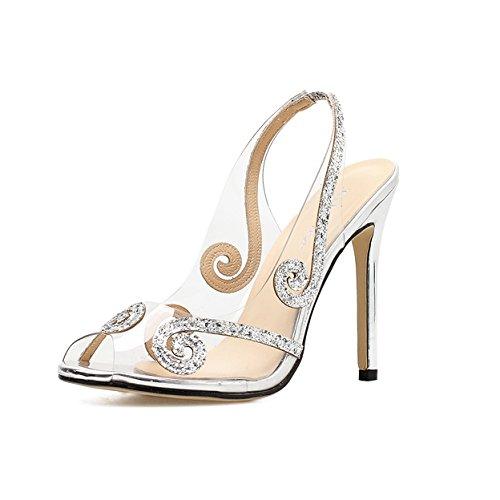 Frauen Stiletto High Heels Slingback Peep Toe Ausgeschnitten Transparent Pailletten Nachtclub Abend Party Prom Sandalen Schuhe,Silver-EU:38/UK:5.5 (Schuhe Prom Slingback Heel Stiletto)