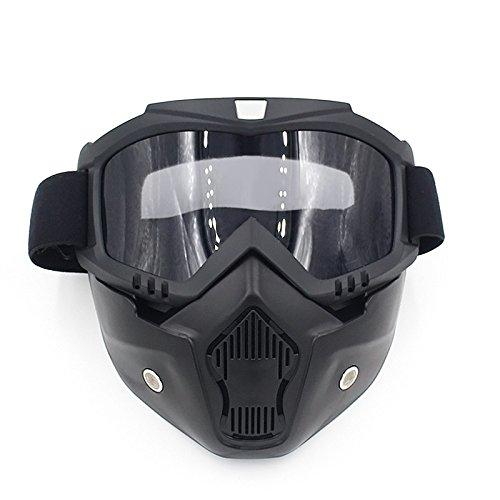 Gzq occhiali da moto con maschera staccabile, casco di sicurezza UV400antivento e antipolvere per motocross, moto,r snowboard, sci, ciclismo, arrampicata, equitazione e sport all'aria aperta, Nero