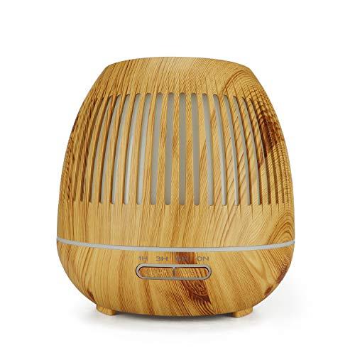 WSSZZ319 400 Ml Luftbefeuchter Hohl Nachtlicht Luftbefeuchter Holzmaserung Mini Luftbefeuchter Luftreiniger Aromatherapie Maschine,Natural -
