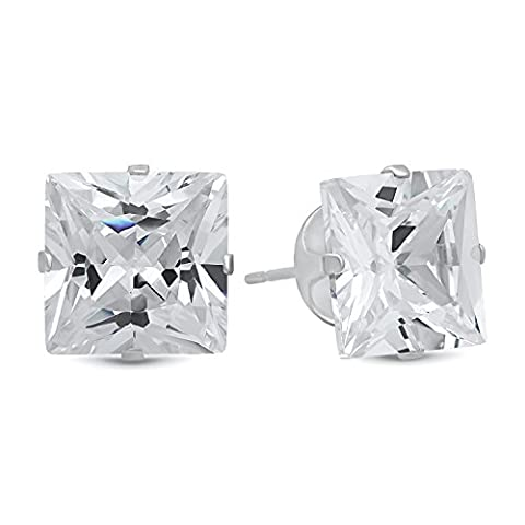 Princess Cut Clear Simulated Diamond 10mm CZ Sterling Silver Stud Earrings + Microfiber Jewelry Polishing