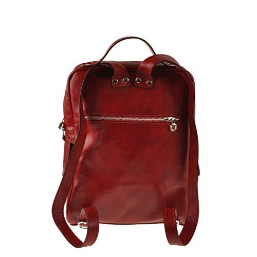 Pellevera Roma Sac à dos en cuir italien. (rouge) rouge