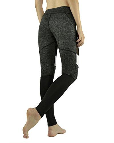X-HERR Damen Leistung Flexibel 7/8 Trainieren Sport Leggings Yoga-Hose Schwarz Grau + Weiß Mesh
